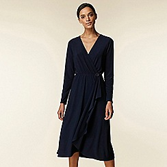 Wallis - Navy wrap frill button midi wrap dress