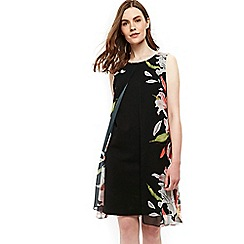 Wallis - Black spring lily split front dress