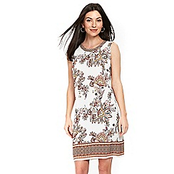 Wallis - Ivory spiced paisley print pinafore dress