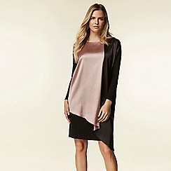 Wallis - Black asymmetric colour block overlay dress