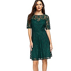 Wallis - Forest green lace 3/4 sleeve dress