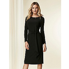 Wallis - Black tie front midi pencil dress