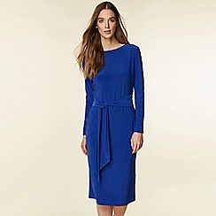 Wallis - Cobalt blue tie front midi pencil dress