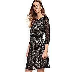 Wallis - Black lace fit and flare dress