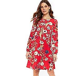 Wallis - Red petal oriental swing dress