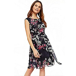 Wallis - Navy blossom floral fit and flare dress