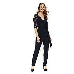 Wallis - Navy lace top jumpsuit
