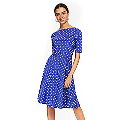 Wallis - Blue polka dot fit and flare dress