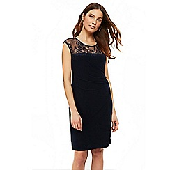 Wallis - Ink lace yoke ruch side dress