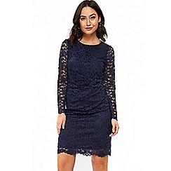 Wallis - Navy side ruched lace shift dress