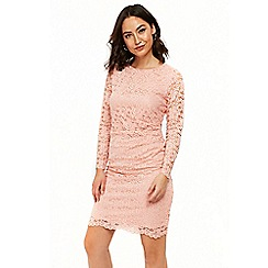 Wallis - Pink lace ruche side dress