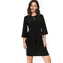 Wallis - Black tie front jersey dress