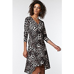 Wallis - Stone animal print horn button fit and flare dress