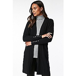 Wallis - Black rib detail long line cardigan