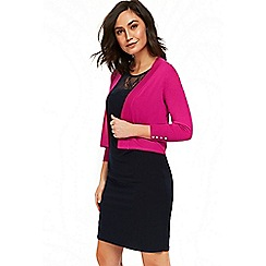 Wallis - Bright pink edge to edge shrug