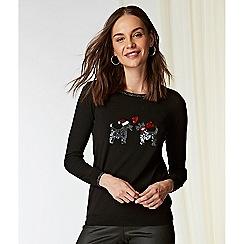 Wallis - Black embellished dog Christmas jumper