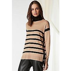 Wallis - Camel stripe polo neck jumper