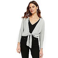 Wallis - Grey tie front shrug
