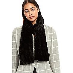 Wallis - Black teddy faux fur scarf