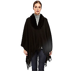 Wallis - Black faux fur collar ribbed wrap