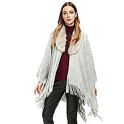 Wallis - Grey faux fur ribbed wrap