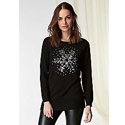 Wallis - Black sequin snowflake tunic jumper