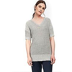 Wallis - Silver v-neck sequin jumper