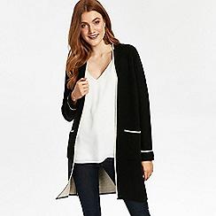 Wallis - Black contrast coatigan with stone tipping