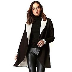 Wallis - Black and stone collar coatigan