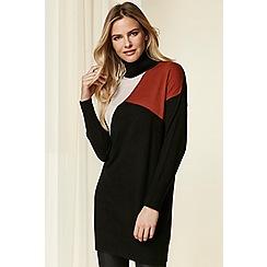 Wallis - Black colour block tunic jumper
