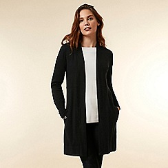 Wallis - Black longline seam detail cardigan