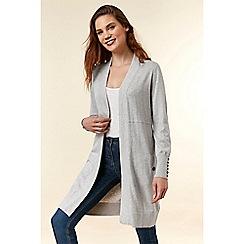 Wallis - Grey longline seam detail cardigan
