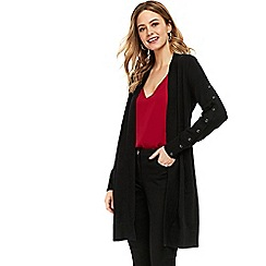 Wallis - Black eyelet sleeve detail cardigan