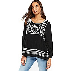 Wallis - Black embroided top