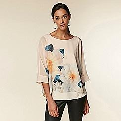 Wallis - Blush floral print twinkle overlay blouse