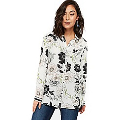 Wallis - Ivory floral leaf print shirt