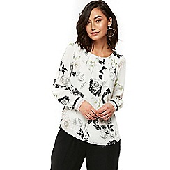 Wallis - Black leaf shell blouse