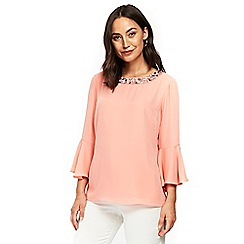 Wallis - Pink embellished neck top
