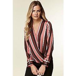 Wallis - Berry satin look striped wrap shirt