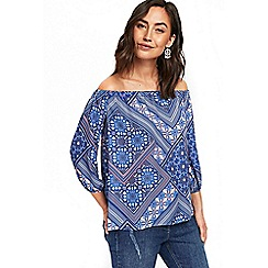Wallis - Blue patchwork bardot top