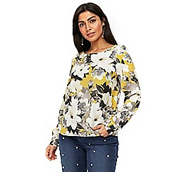 Wallis - Black floral flute sleeve top