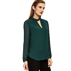 Wallis - Green embellished twist neck top