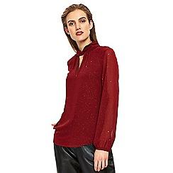 Wallis - Berry embellished twist neck blouse