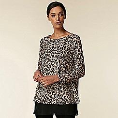 Wallis - Brown leopard print layered top