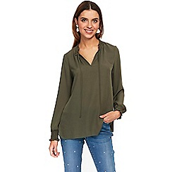 Wallis - Khaki tie neck top