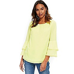 Wallis - Lime crochet trim top