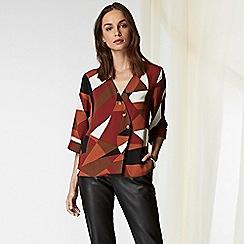 Wallis - Rust colour block button blouse