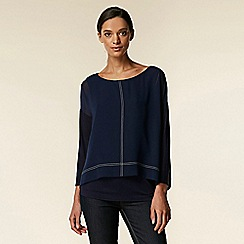 Wallis - Navy contrast stitch layered top