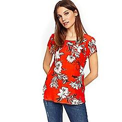 Wallis - Orange floral shell blouse