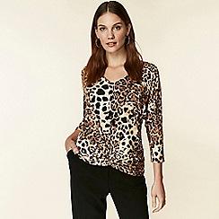 Wallis - Stone leopard print twist front blouse